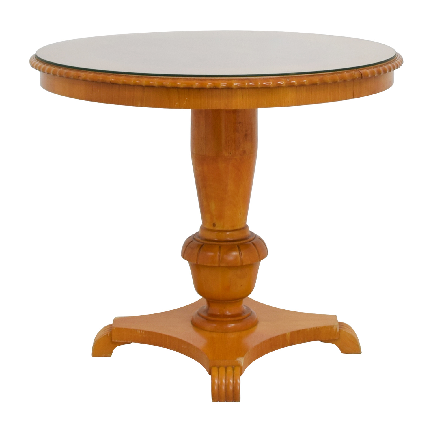 Antique round wood dining table with glass top second hand for Small round wood kitchen table