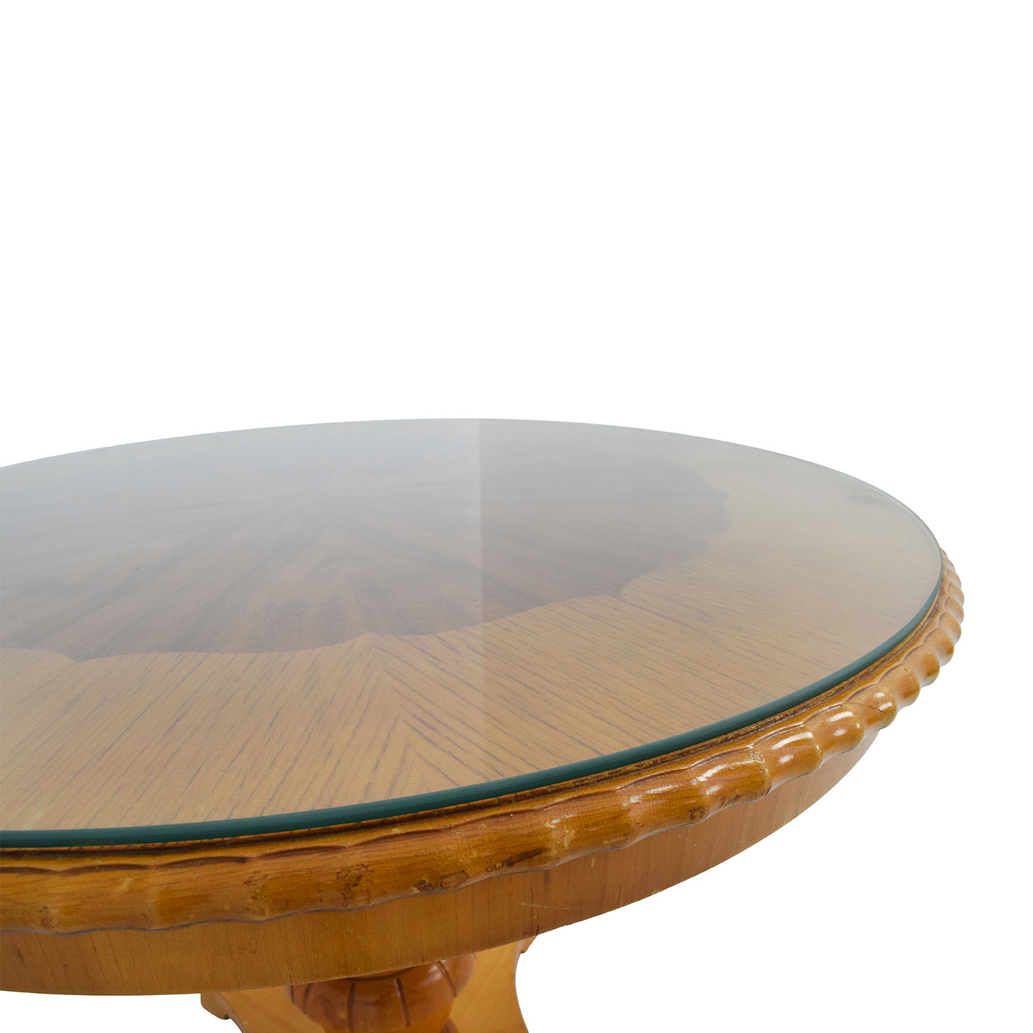 86 off antique round wood dining table with glass top for Dinner table wood