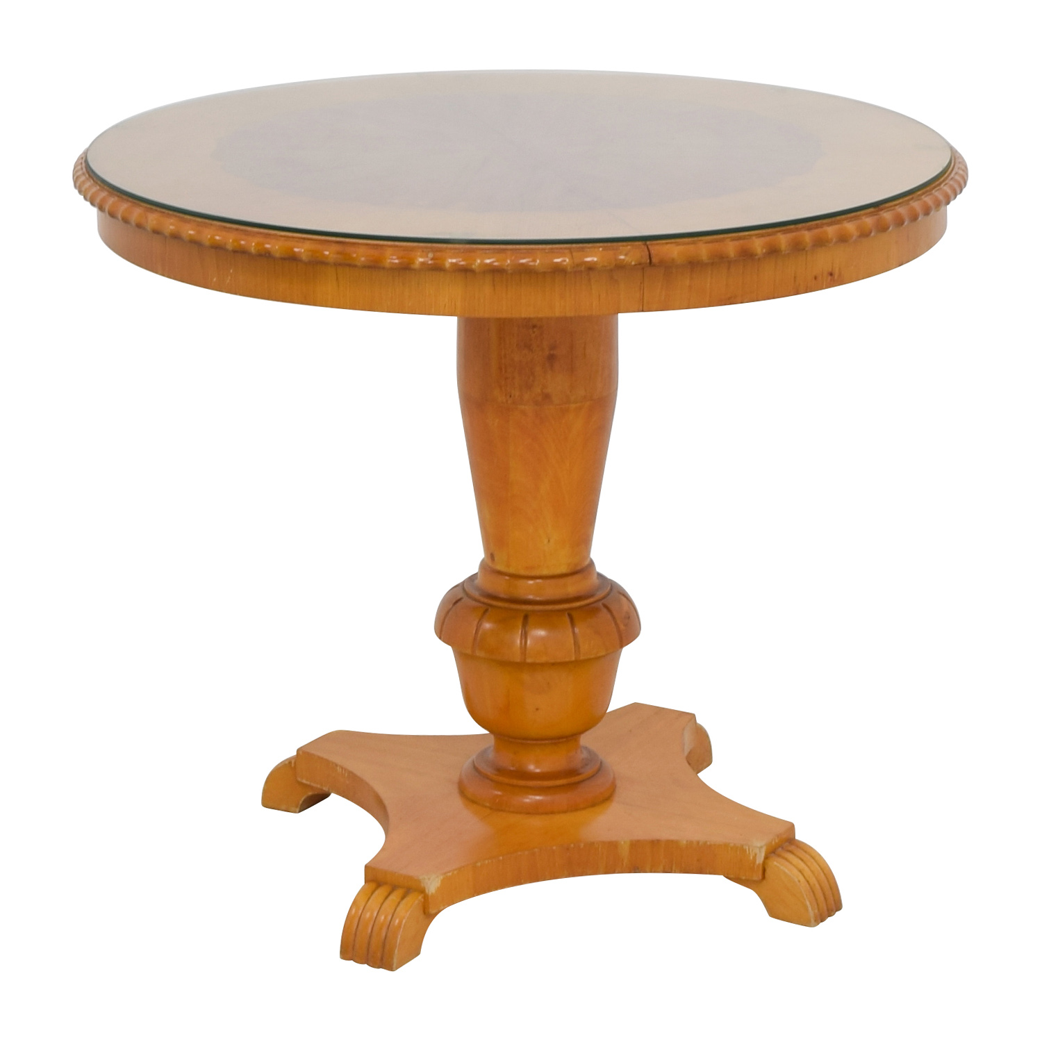 86 off antique round wood dining table with glass top for Round glass top dining table