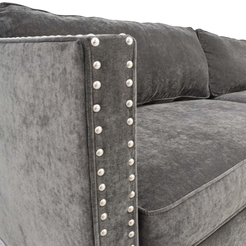 Miraculous 57 Off Rowe Furniture Rowe Furniture Mitchell Grey Studded Sofa Sofas Machost Co Dining Chair Design Ideas Machostcouk