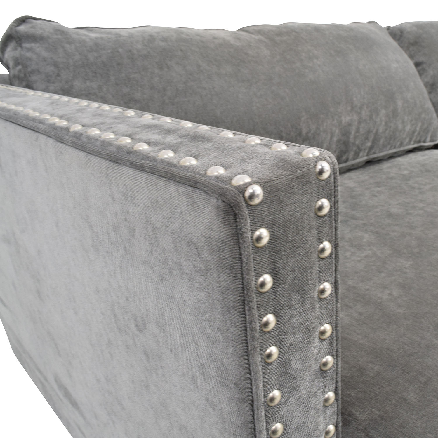 Marvelous 67 Off Rowe Furniture Rowe Mitchell Silver Studded Sofa Sofas Machost Co Dining Chair Design Ideas Machostcouk