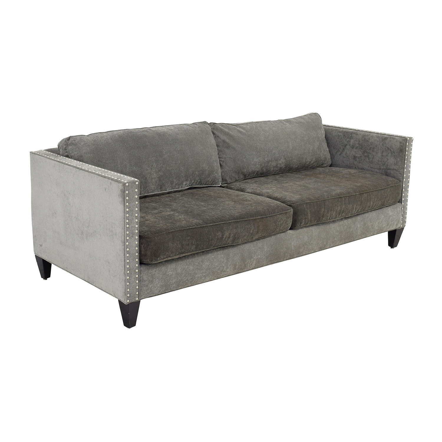 Grey studded sofa 30 off fl on white three cushion sofa for Studded leather sofa