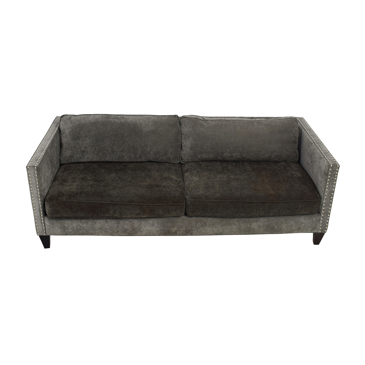 Rowe Furniture Mitchell Grey Studded Sofa / Sofas