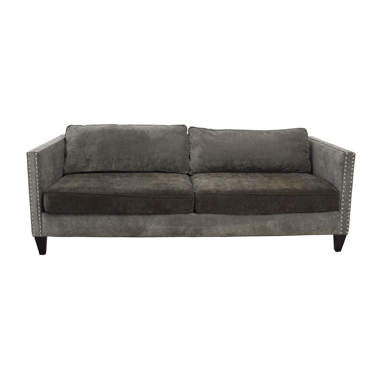 Grey studded sofa sofas magnificent grey sofa living room for Studded leather sofa