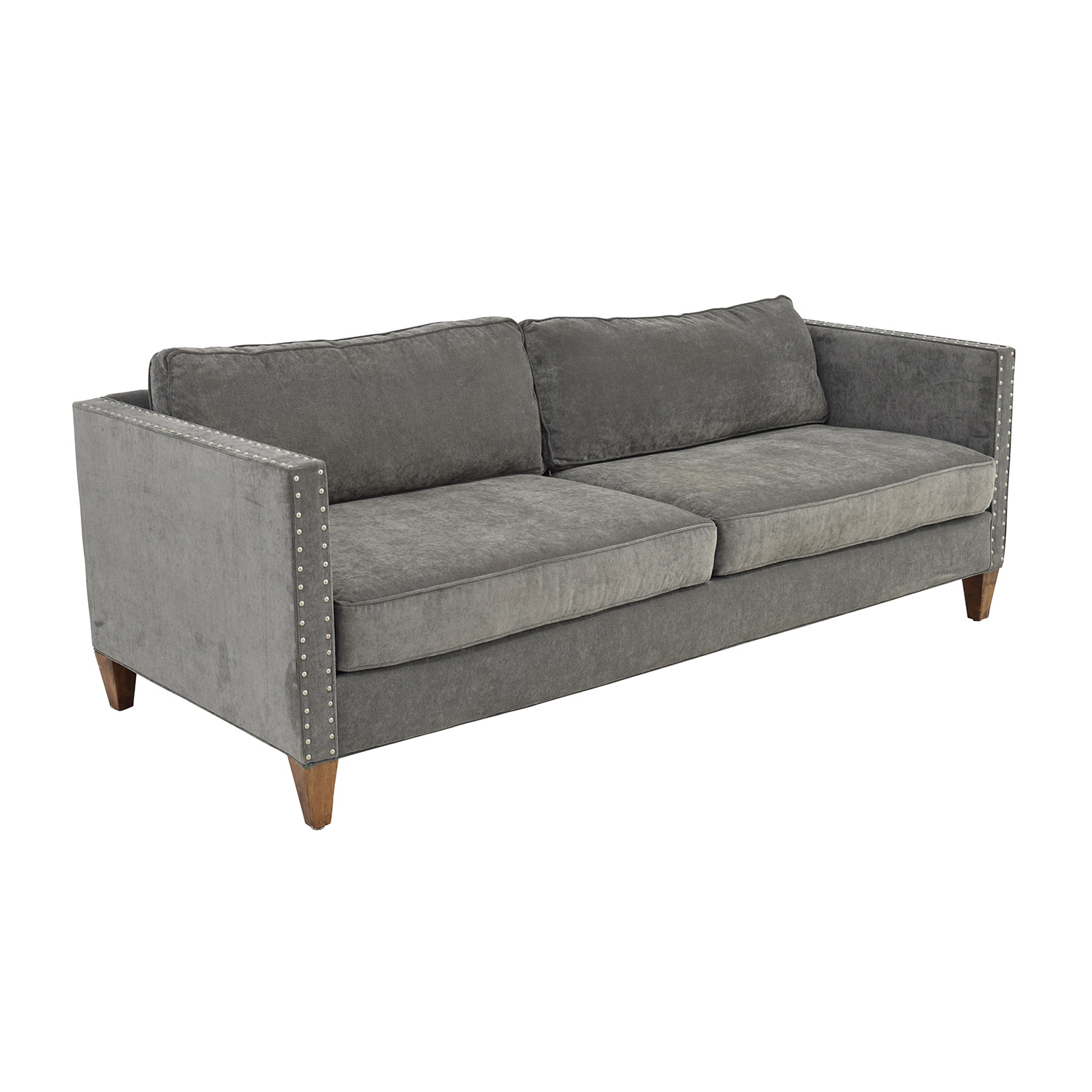 Grey studded sofa hereo sofa for Studded leather sofa