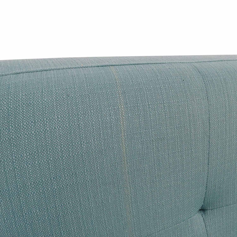 Midcentury Modern Tufted Light Teal Loveseat Sofa discount