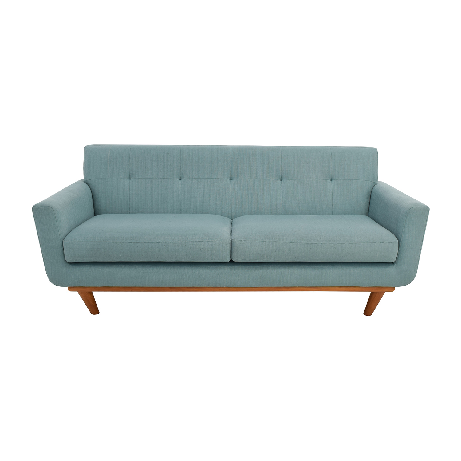 Midcentury Modern Tufted Light Teal Loveseat Sofa on sale