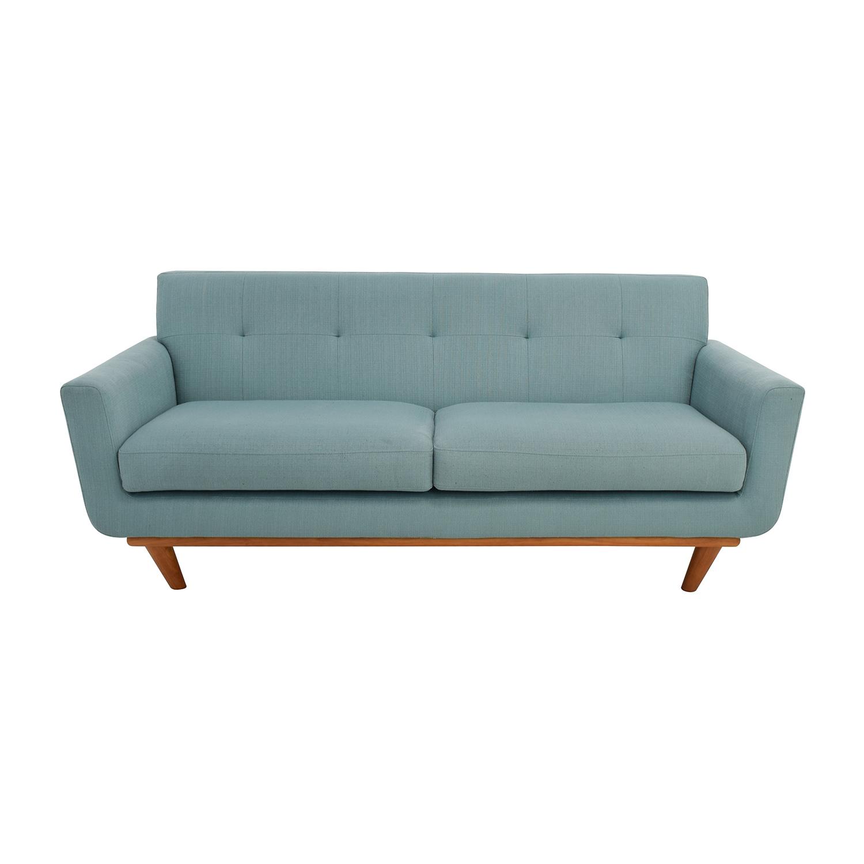 Midcentury Modern Tufted Light Teal Loveseat Sofa sale