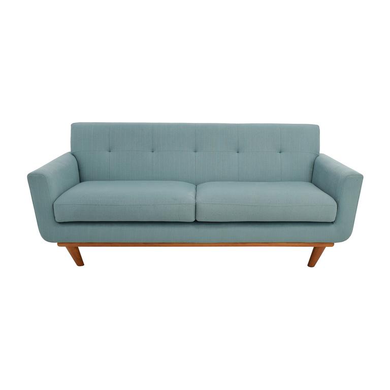 Midcentury Modern Tufted Light Teal Loveseat Sofa used