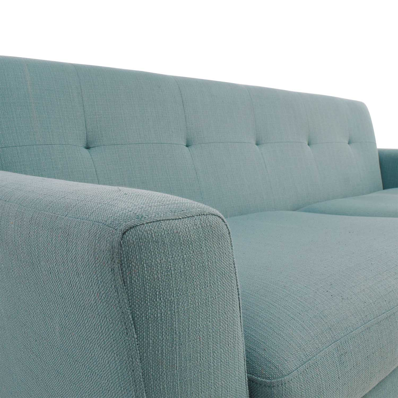 Midcentury Modern Tufted Light Teal Loveseat Sofa coupon