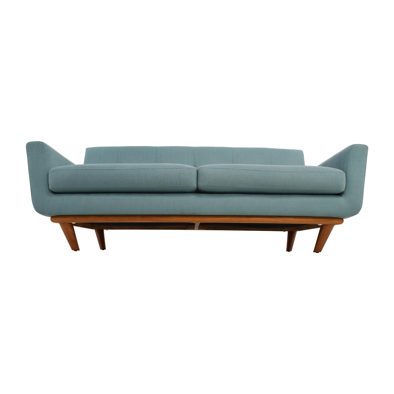 shop Midcentury Modern Tufted Light Teal Loveseat Sofa Classic Sofas