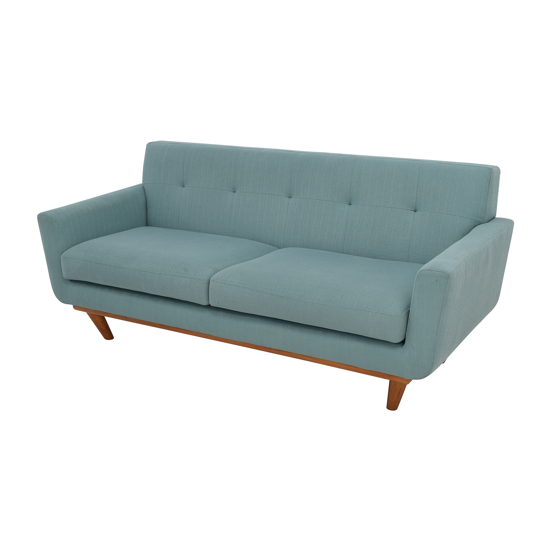 59 Off Midcentury Modern Tufted Light Teal Loveseat Sofa Sofas