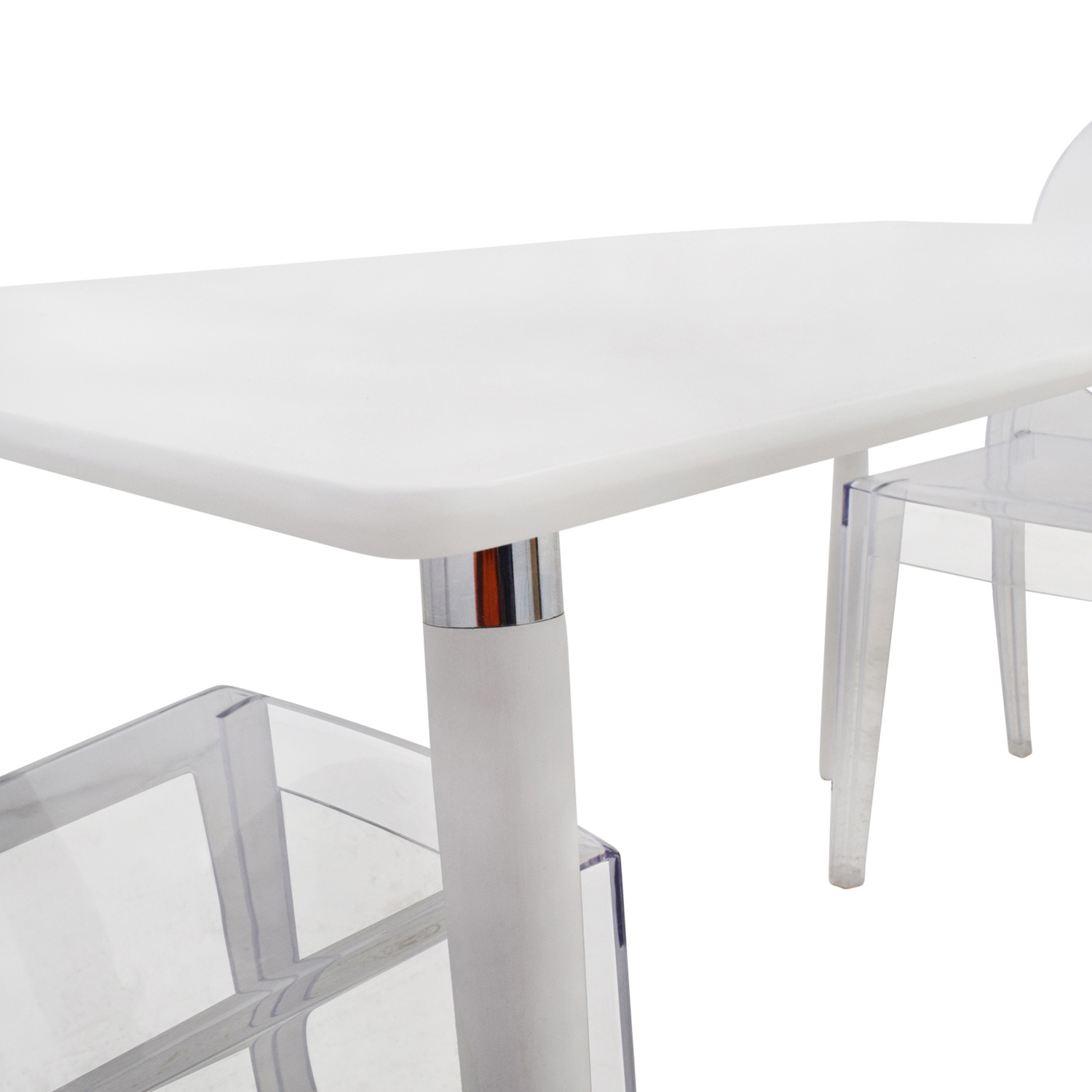 80 off white dining table set with two ghost chairs for White dining table and bench set