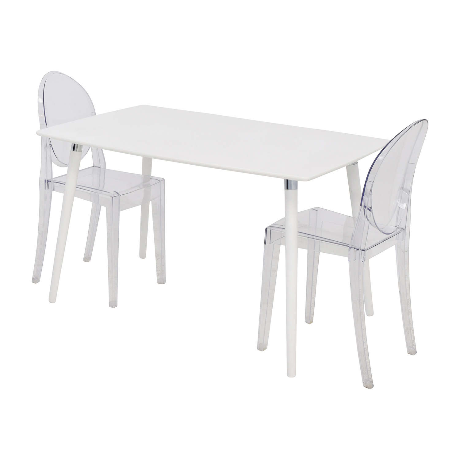 80 off white dining table set with two ghost chairs tables