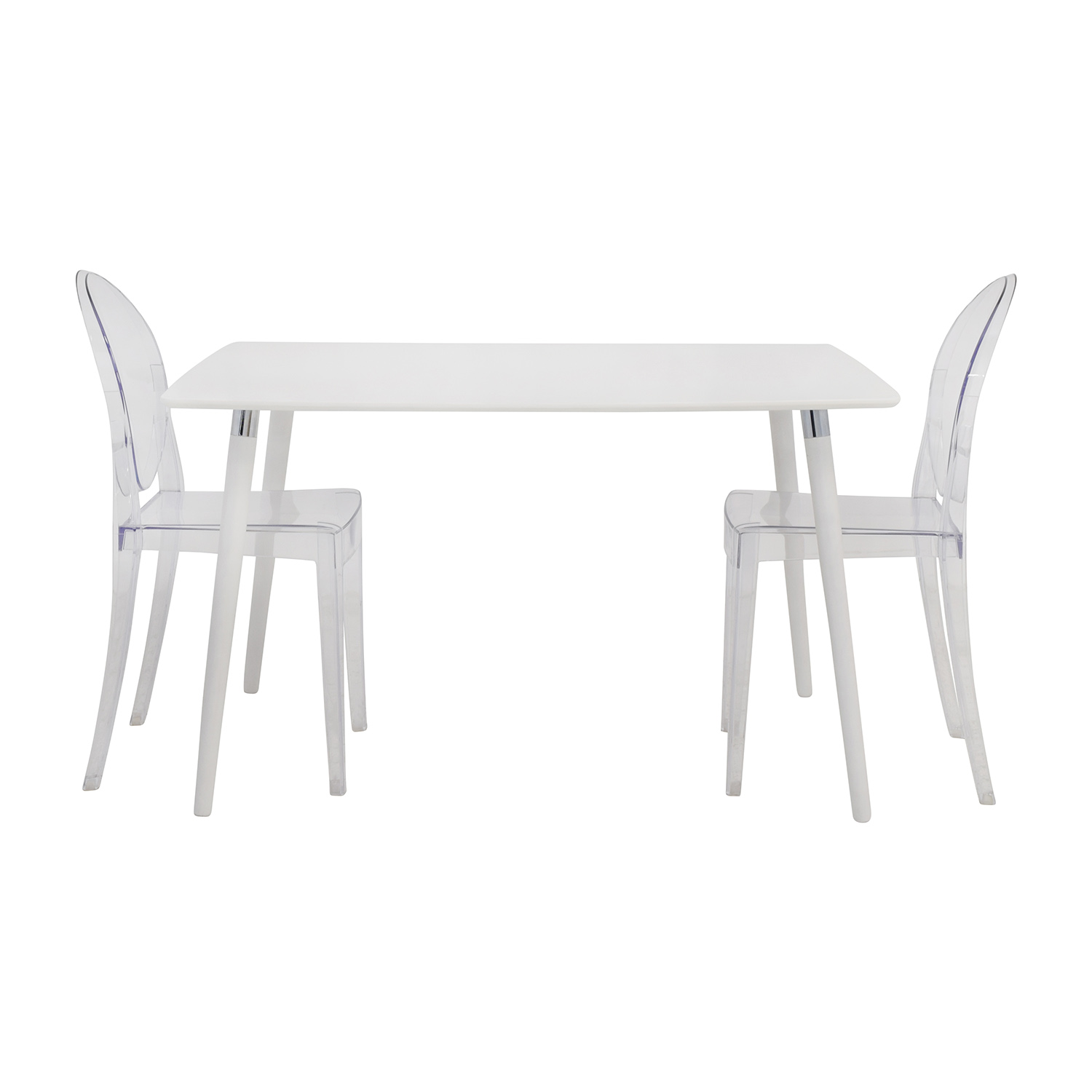80% OFF - White Dining Table Set with Two Ghost Chairs / Tables