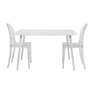buy White Dining Table Set with Two Ghost Chairs