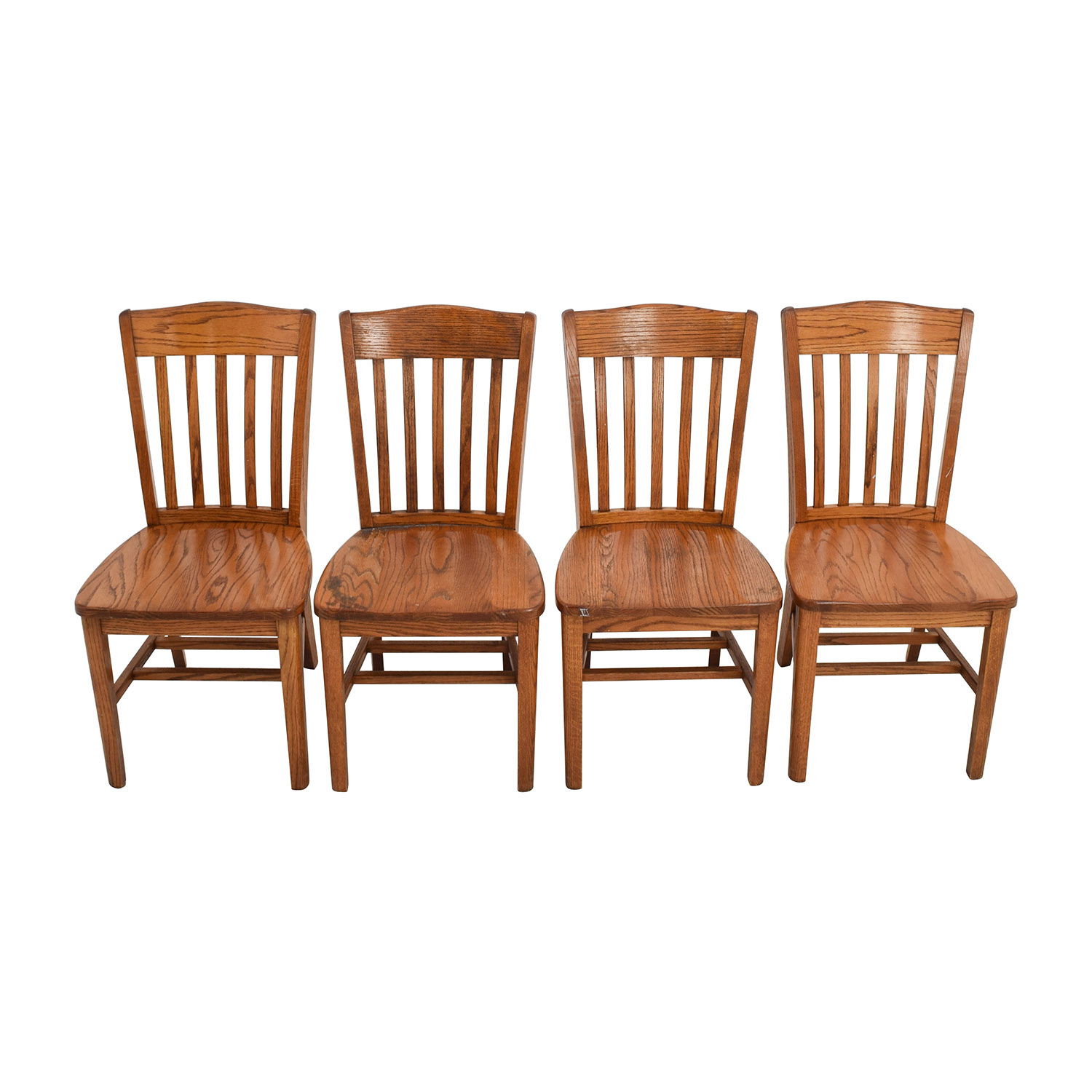 ... Four Brown Slat Back Wood Chairs ...