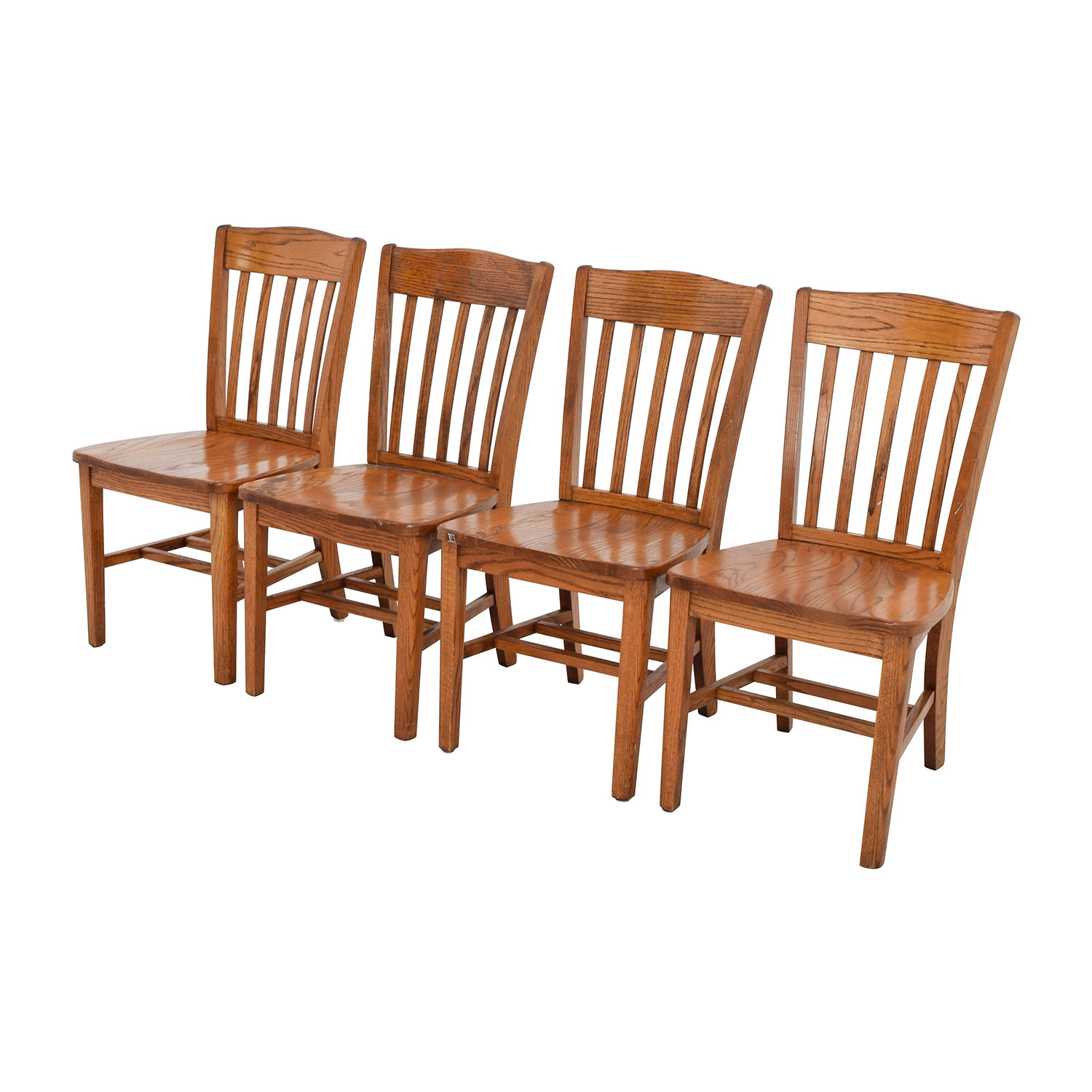 71 off four brown slat back wood chairs chairs