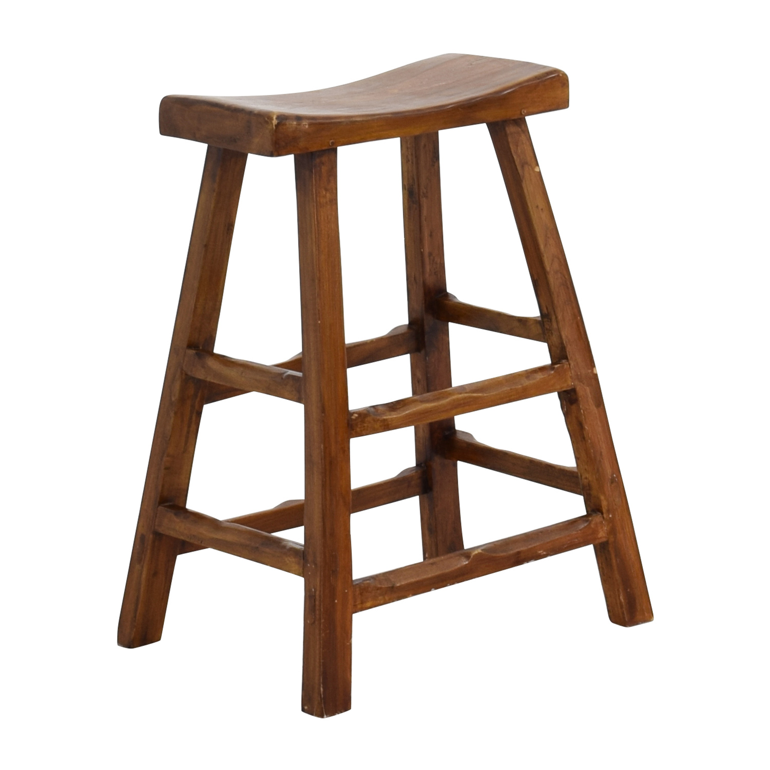 Wooden Furniture Stools ~ Off rustic wood saddle seat counter stool chairs