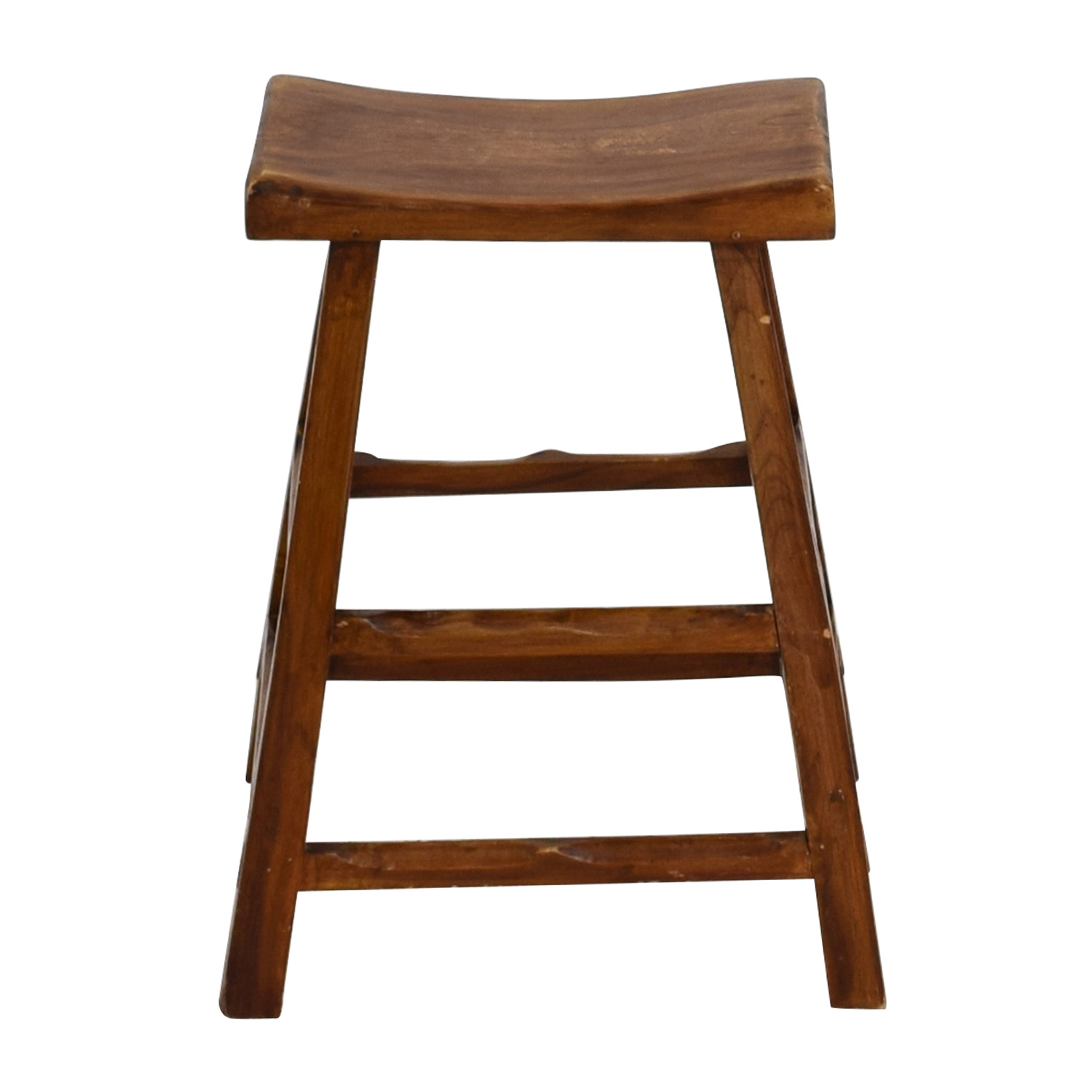 Rustic Wood Saddle Seat Counter Stool nyc