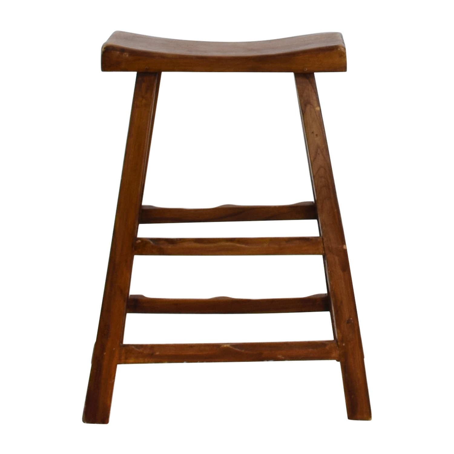 Rustic Wood Saddle Seat Counter Stool sale