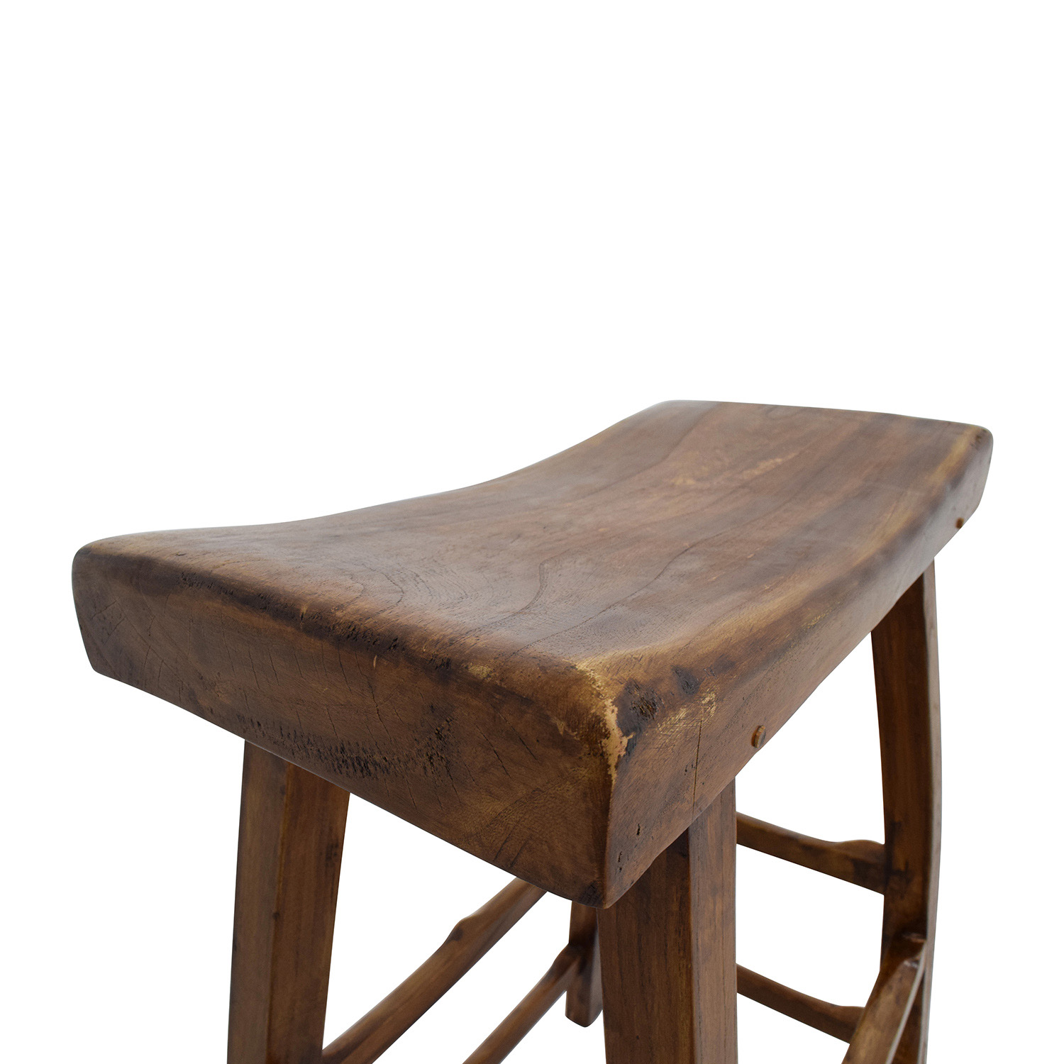 Rustic Wood Saddle Seat Counter Stool