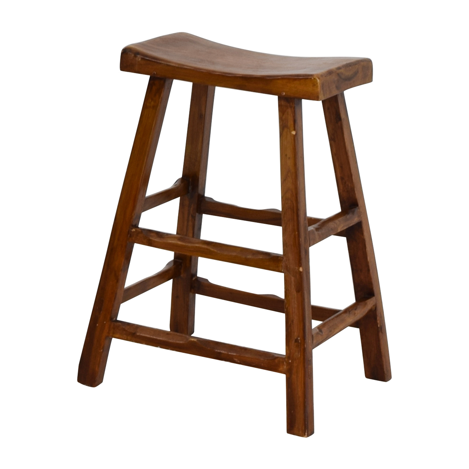 55 Off Rustic Wood Saddle Seat Counter Stool Chairs