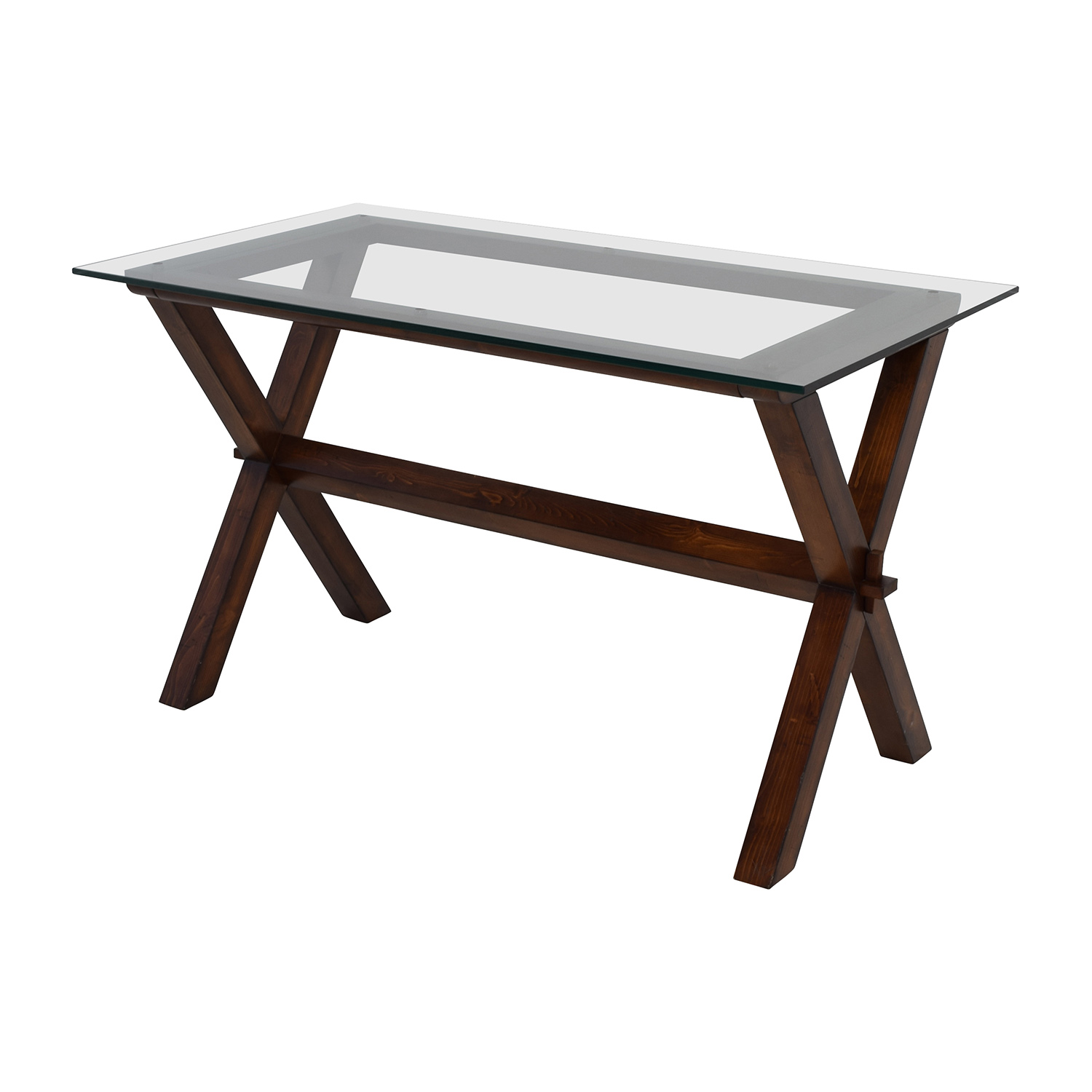 64% OFF Pottery Barn Pottery Barn Ava Glass and Wood Desk Tables