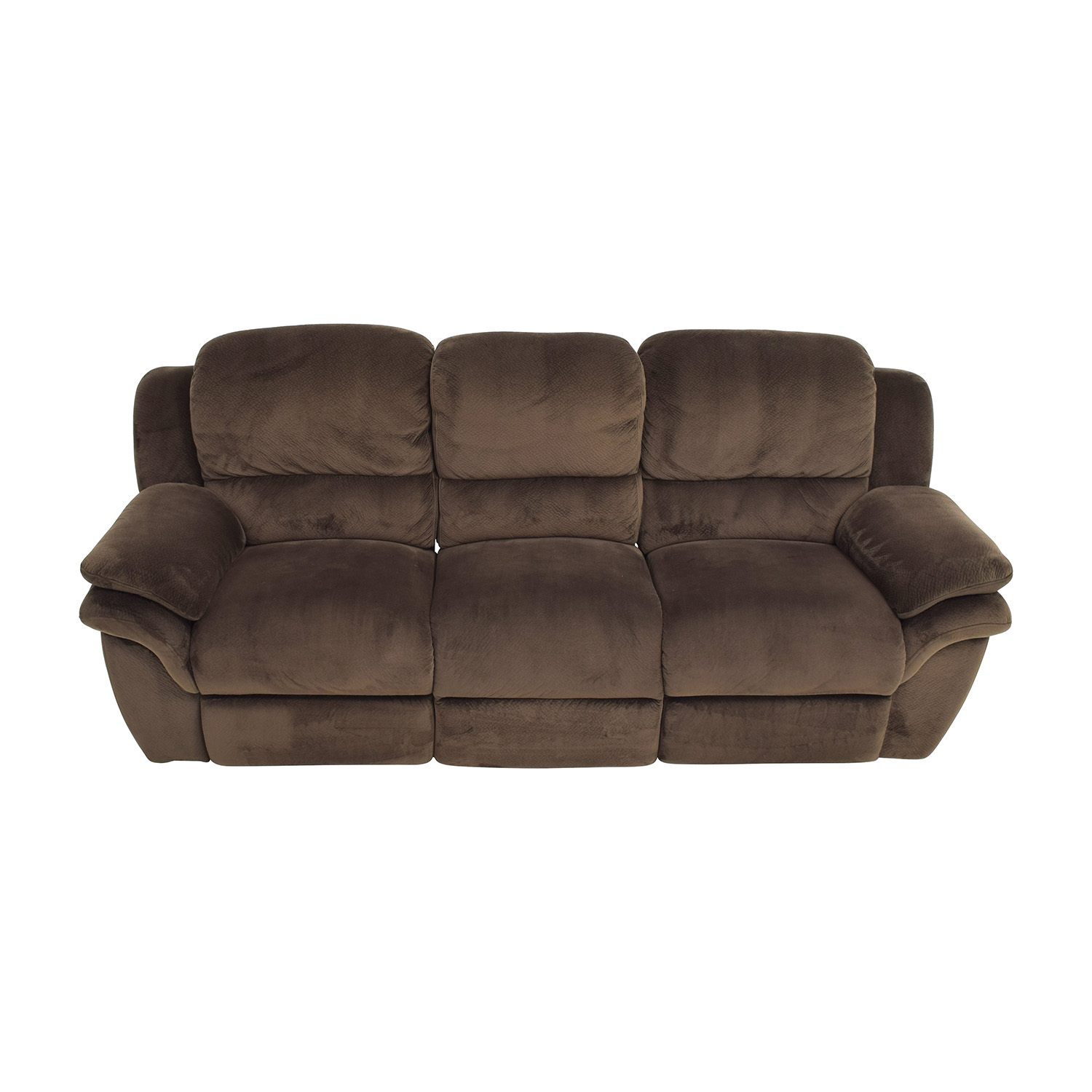Bobs Furniture Brown Reclining Couch sale