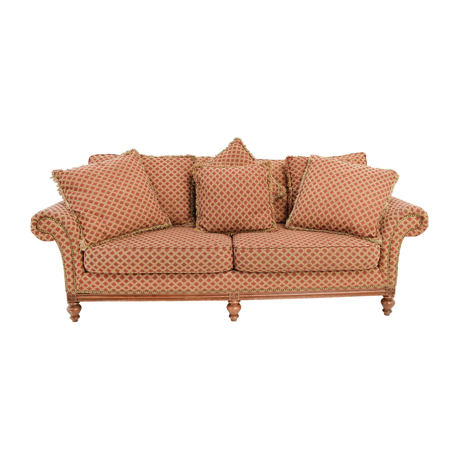 shop Bernhardt Bernhardt Red and Gold Two Cushion Seat Sofa online