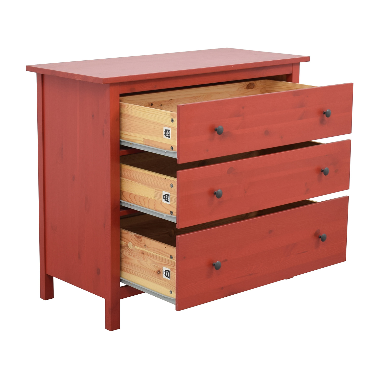 IKEA IKEA Hemnes Red Three-Drawer Dresser second hand