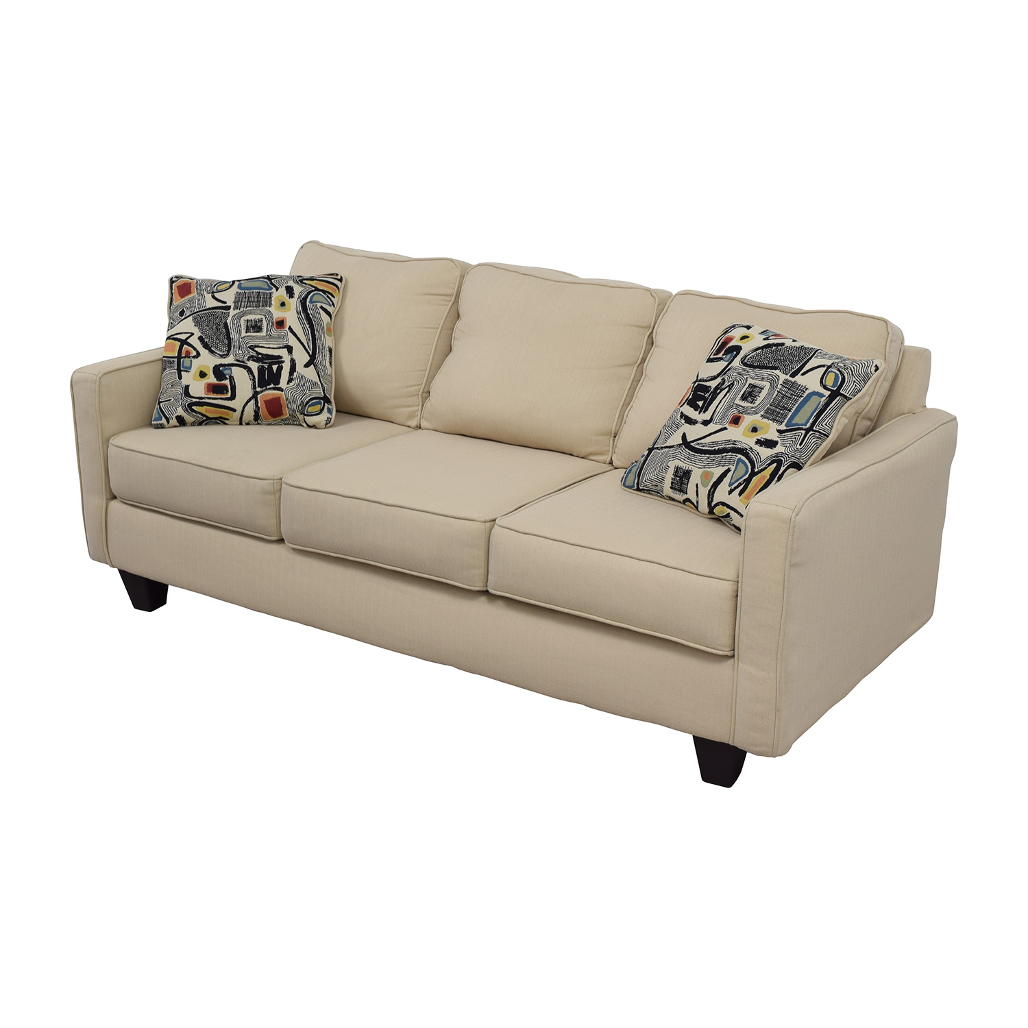 52% OFF - Wayfair Wayfair AllModern Three Cushion Beige Couch with Two Pillows / Sofas