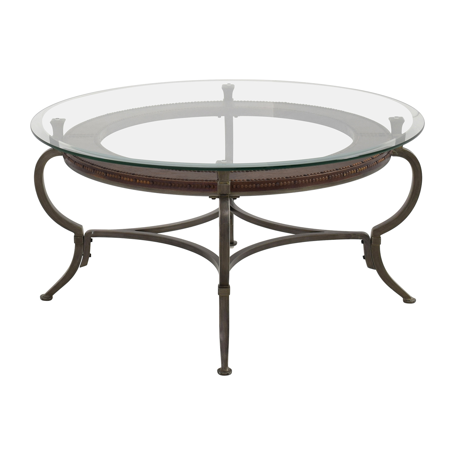 86 off macy 39 s macy 39 s round metal and glass cocktail table tables Metal and glass coffee table