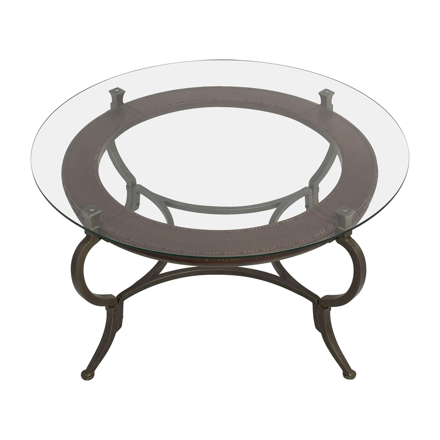Macys Round Metal and Glass Cocktail Table / Coffee Tables