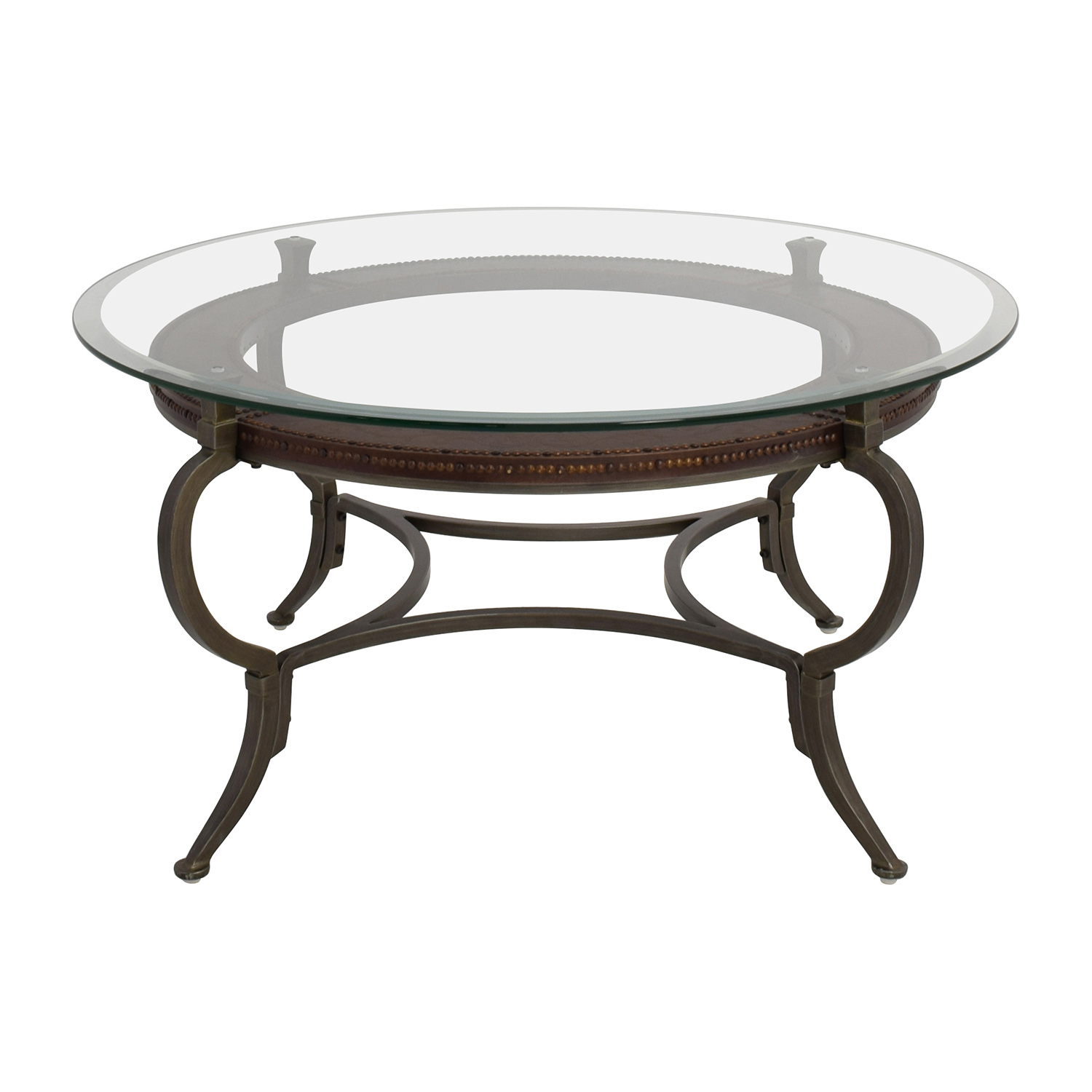 Macy's Macy's Round Metal and Glass Cocktail Table Brown - 62% OFF - Macys Macy's Glass And Wood Coffee Table / Tables