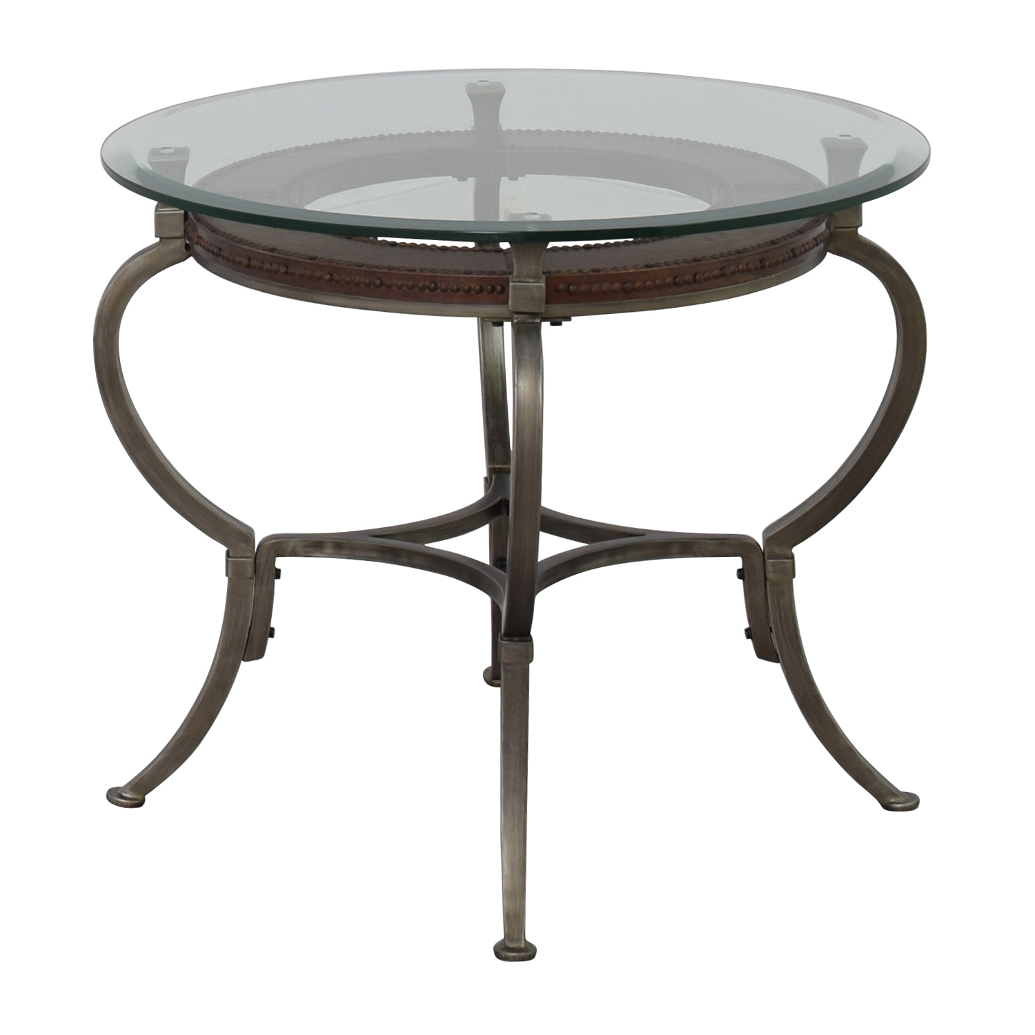 90 off macy 39 s macy 39 s artistica round glass and metal for Glass end tables