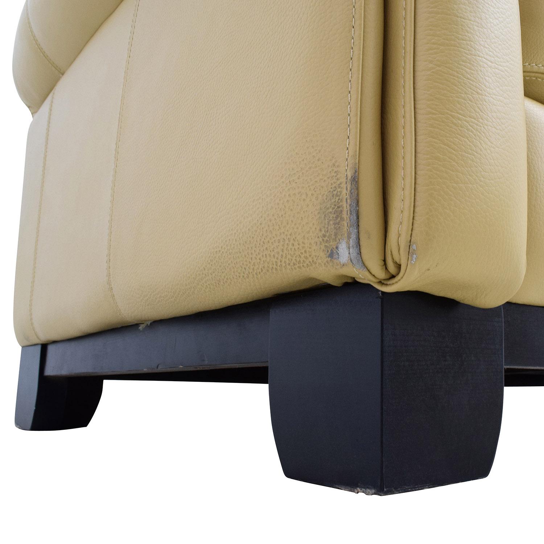 Chateau DAx Chateau DAx for Macys Beige Leather Three-Seat Cushion Sofa price