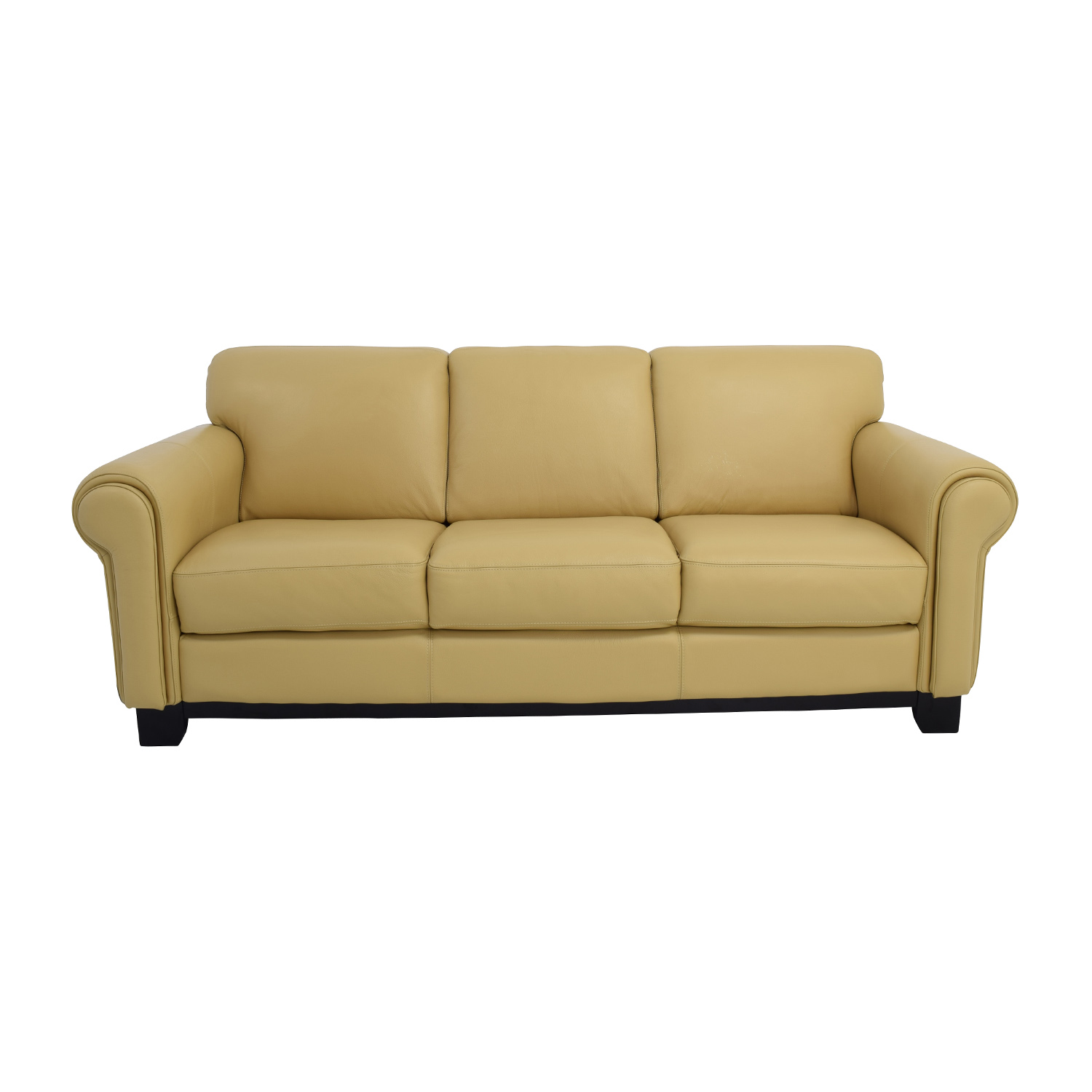 shop Chateau DAx Chateau DAx for Macys Beige Leather Three-Seat Cushion Sofa online