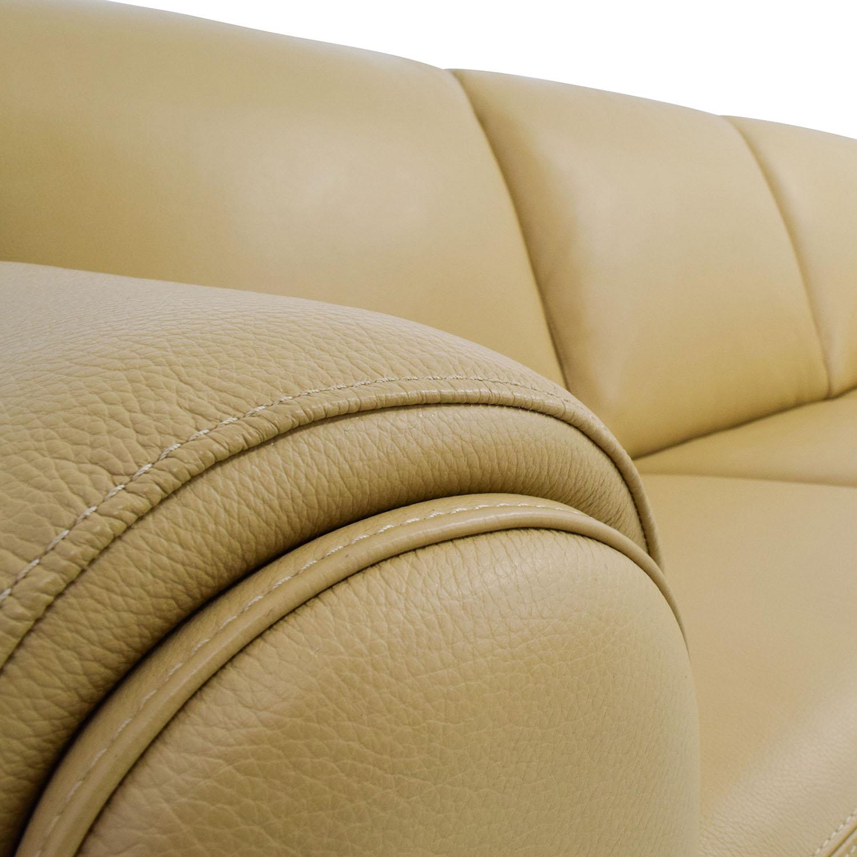 Chateau DAx Chateau DAx for Macys Beige Leather Three-Seat Cushion Sofa dimensions