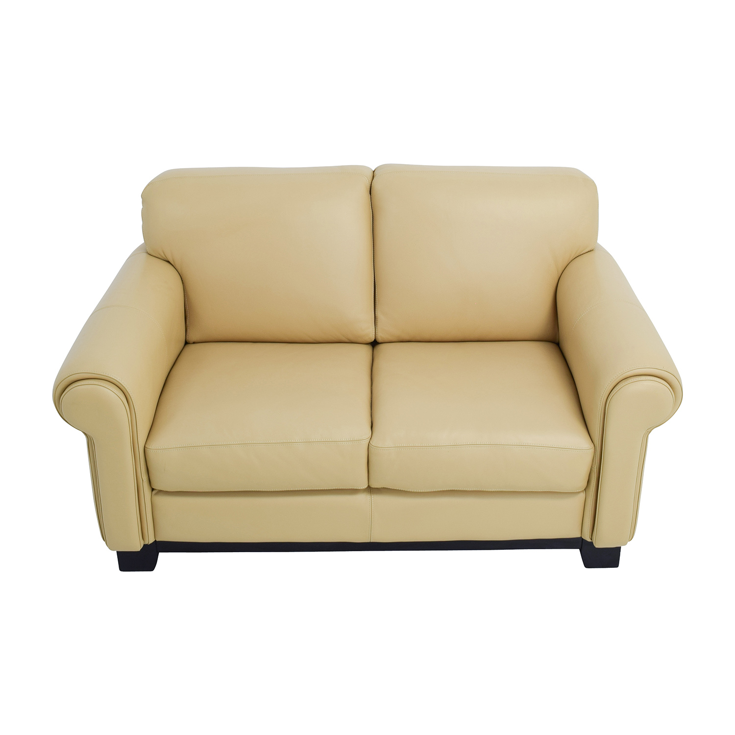 Chateau DAx Chateau DAx Beige Leather Two-seat Cushion Loveseat