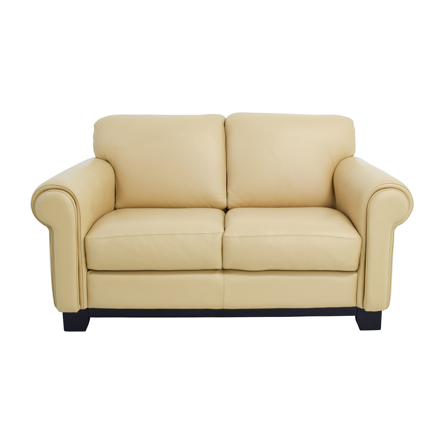 Cau Dax Beige Leather Two Seat Cushion Loveseat Online
