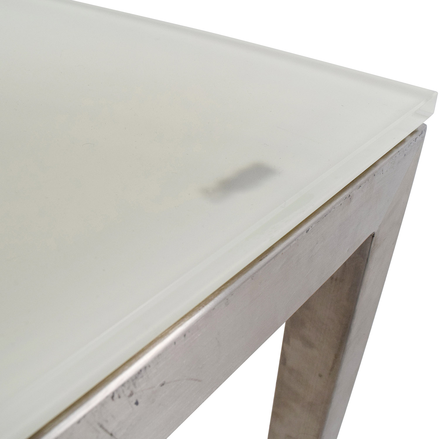 Room and Board Room & Board Portia White Glass and Stainless Steel Dining Table on sale