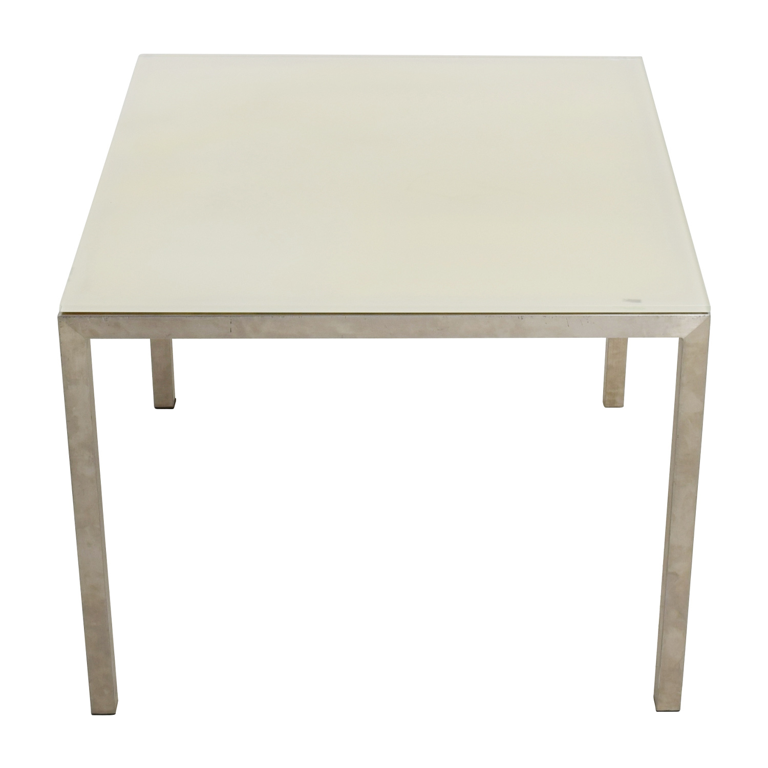 Room & Board Portia White Glass and Stainless Steel Dining Table sale