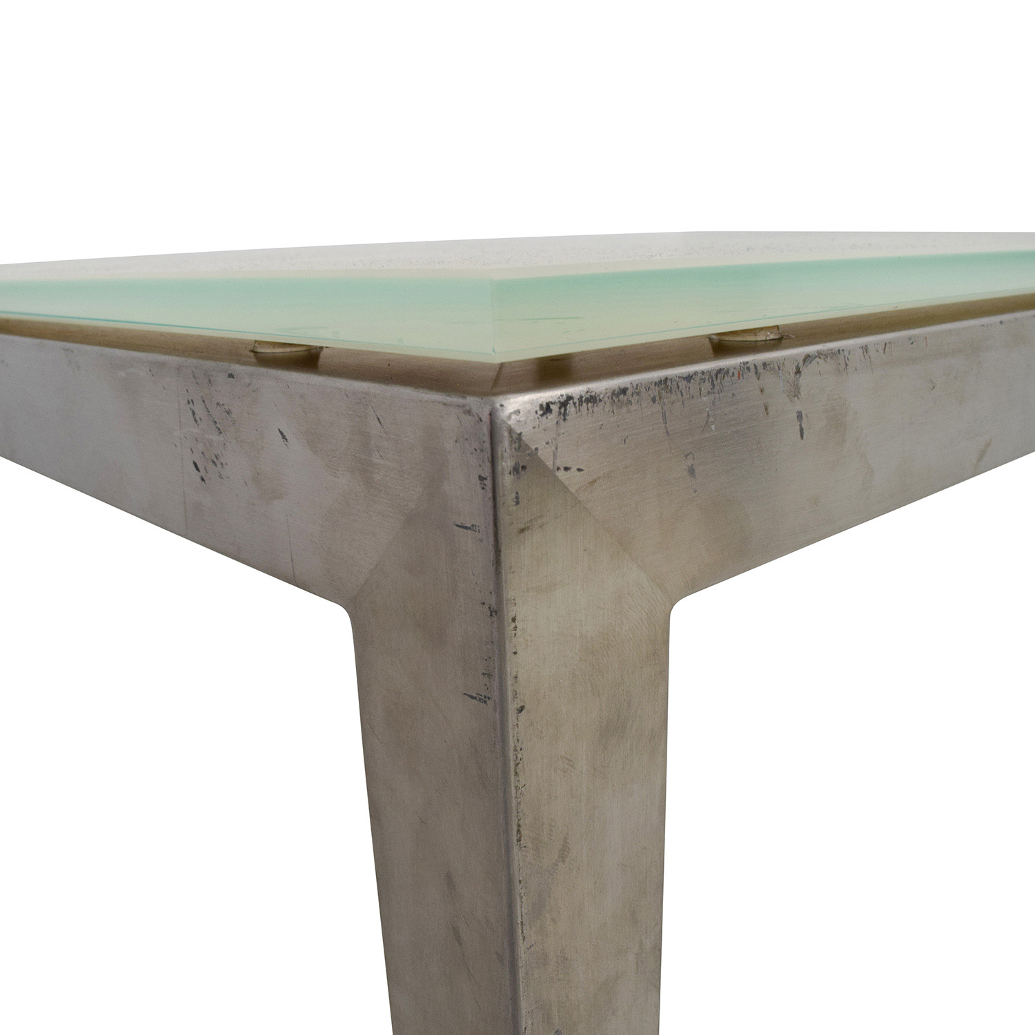 Room and Board Room & Board Portia White Glass and Stainless Steel Dining Table nj