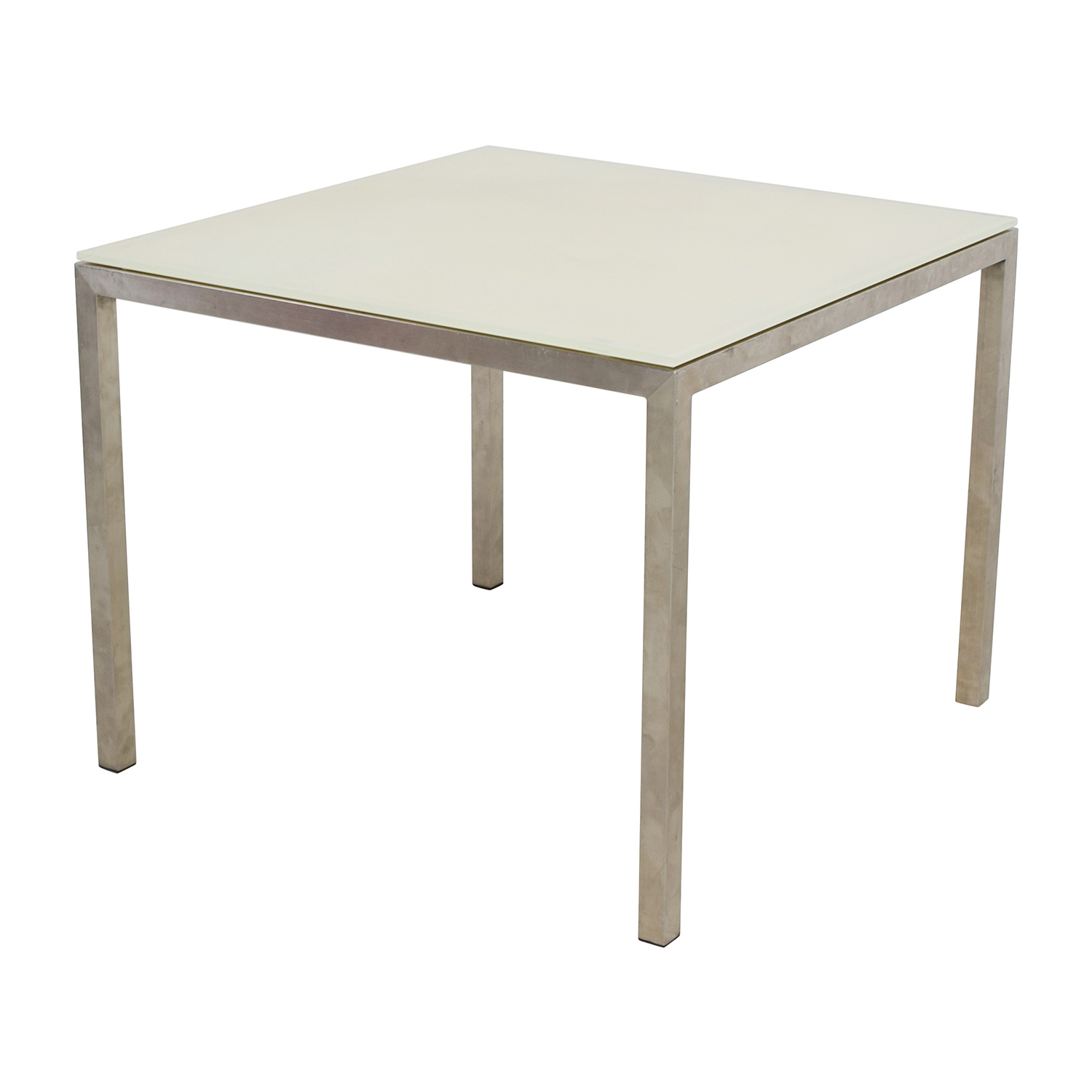 Room & Board Portia White Glass and Stainless Steel Dining Table Room and Board