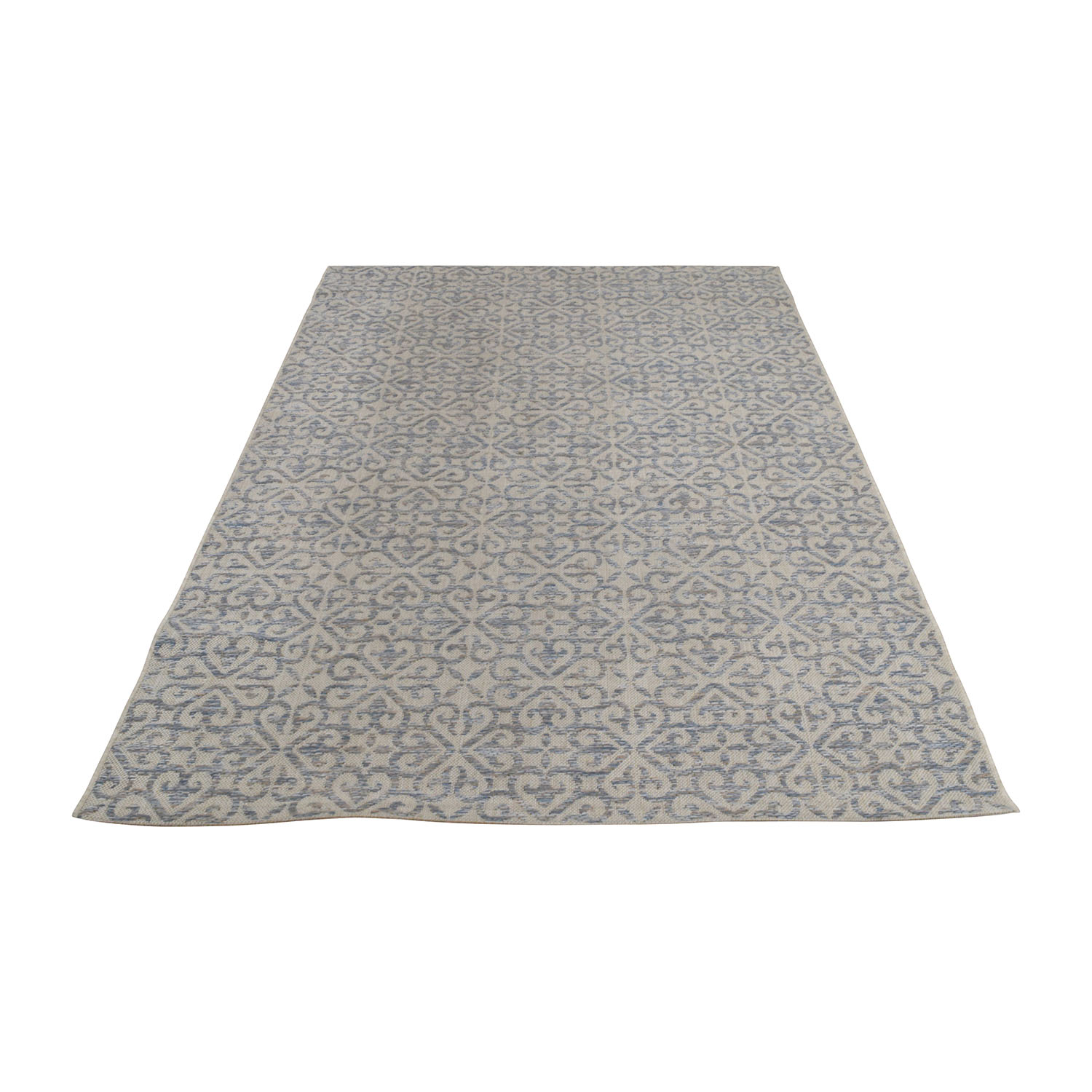 Light Blue Scroll Indoor and Outdoor Rug second hand