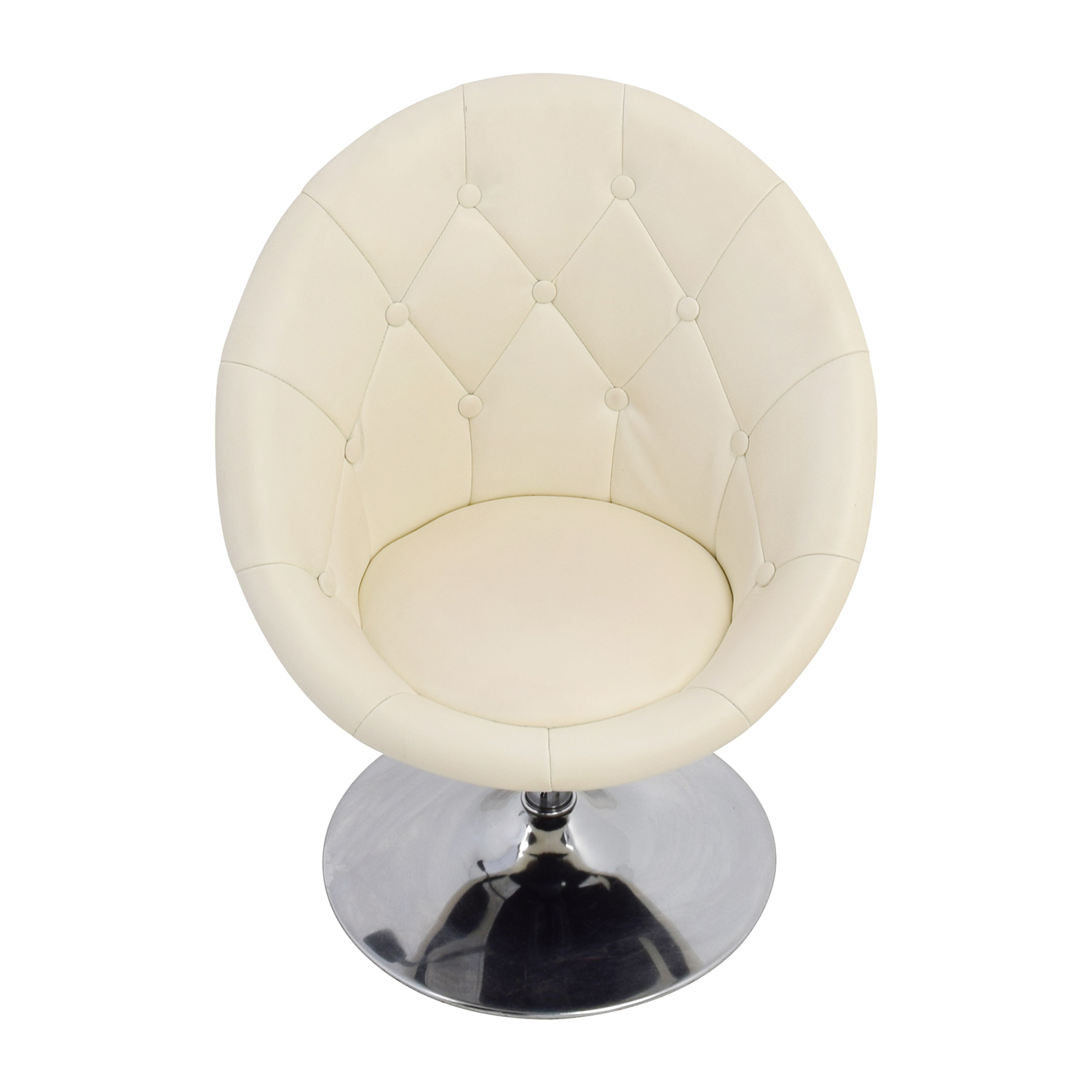 Coaster Coaster Tufted White Leather Swivel Chair nyc