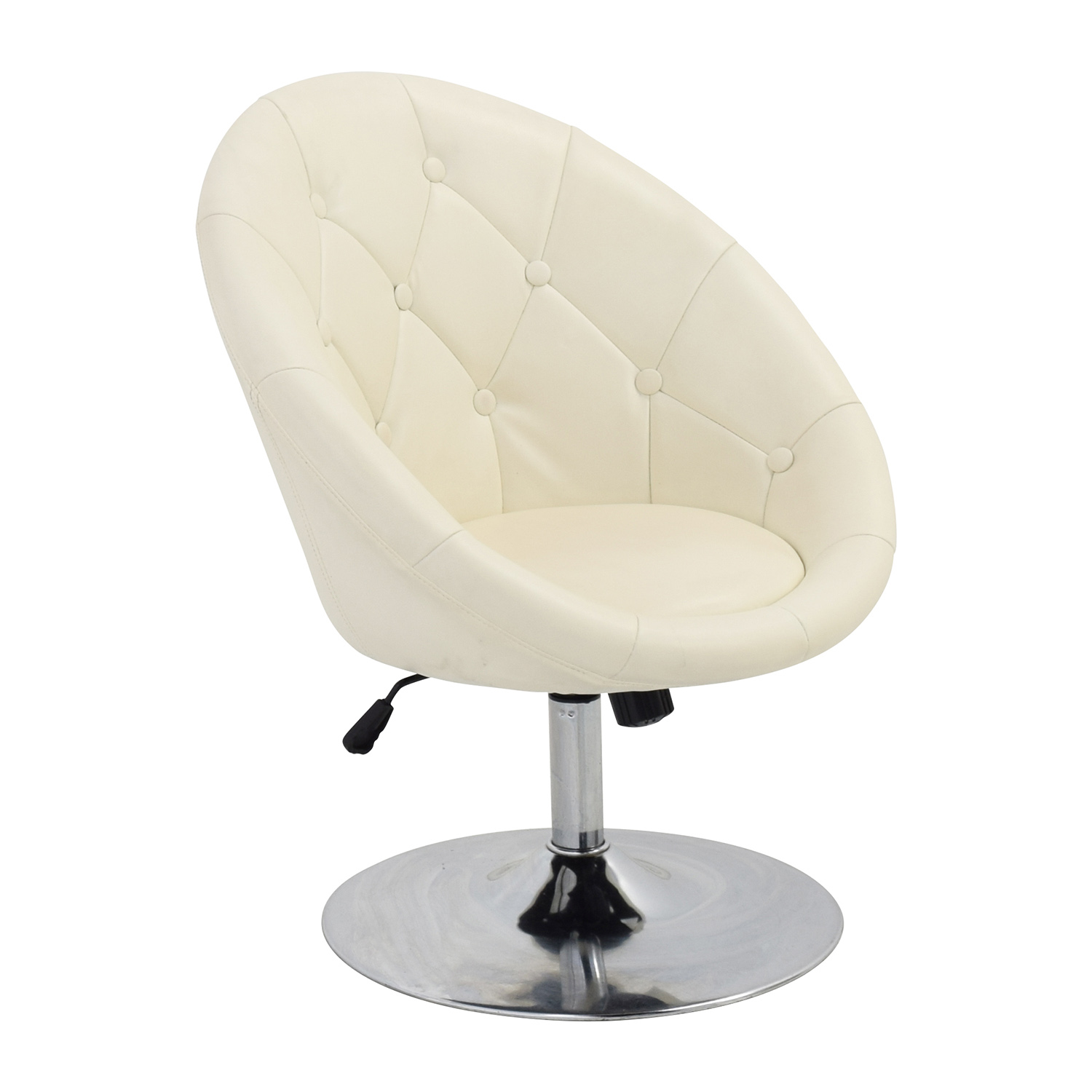 59% OFF Coaster Coaster Tufted White Leather Swivel Chair Chairs