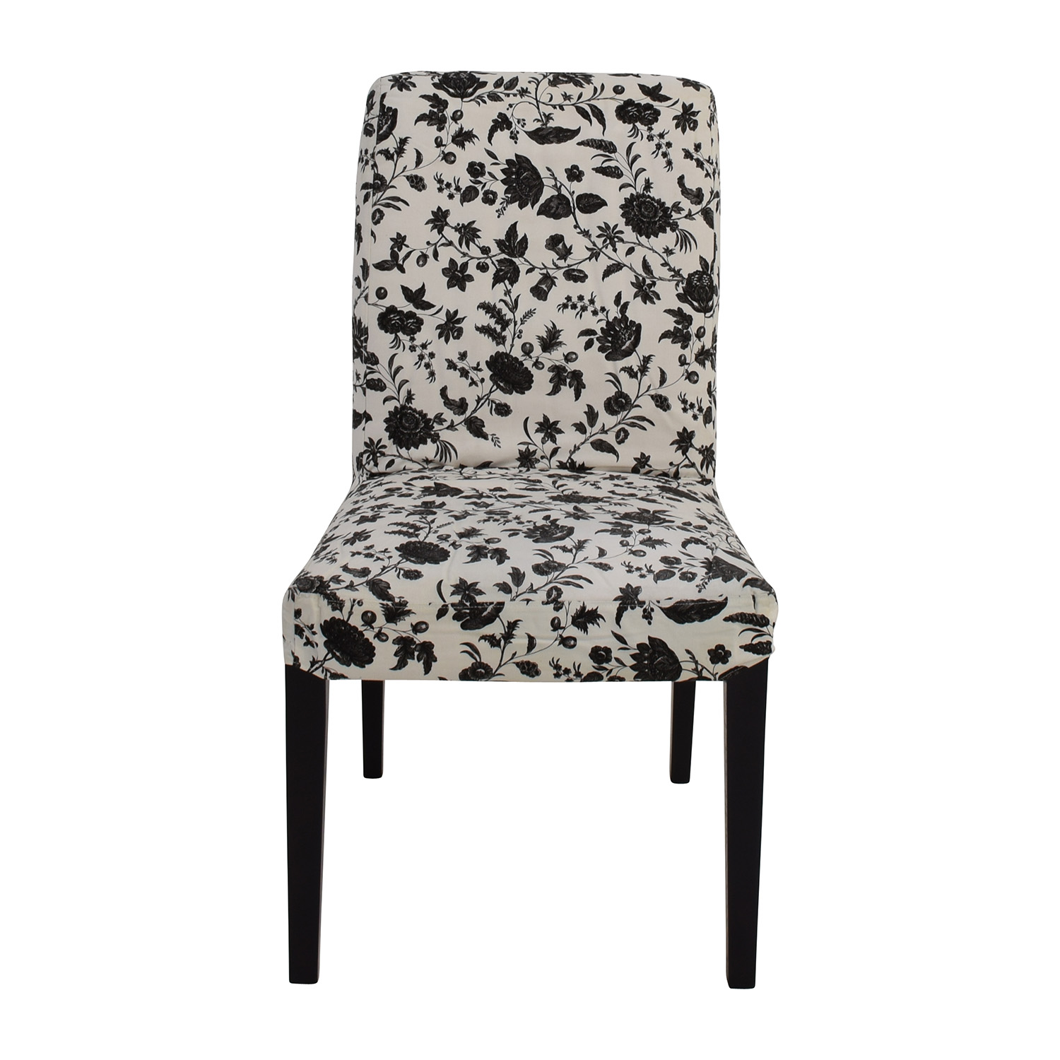 Awe Inspiring 77 Off Black White Floral Dining Chair Chairs Caraccident5 Cool Chair Designs And Ideas Caraccident5Info