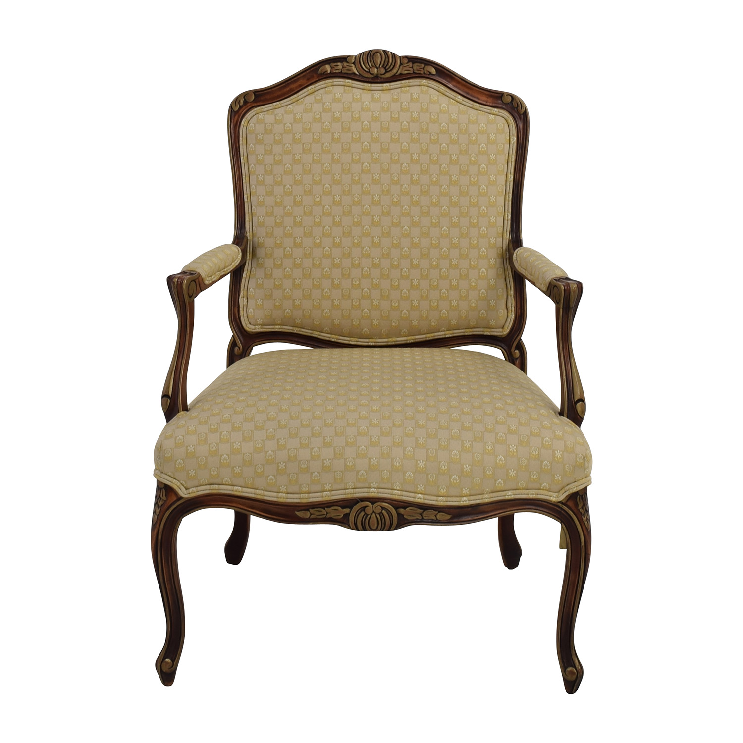 85 Off Antique Upholstered Beige Classic Armchair Chairs